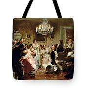 A Schubert Evening In A Vienna Salon Tote Bag by Julius Schmid