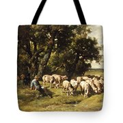 A Shepherd And His Flock Tote Bag by Charles Emile Jacques