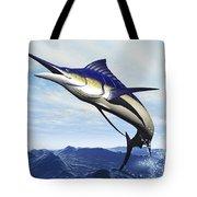 A Sleek Blue Marlin Bursts Tote Bag by Corey Ford