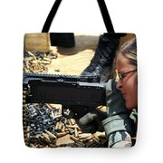 A Soldier Fires An M240b Medium Machine Tote Bag by Stocktrek Images