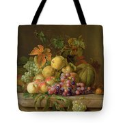 A Still Life Of Melons Grapes And Peaches On A Ledge Tote Bag by Jakob Bogdani
