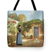 A Sunny Morning Tote Bag by Childe Hassam