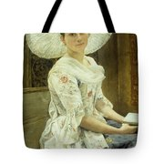 A Young Beauty In A White Hat  Tote Bag by Franz Xaver Simm