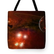 A Young Ringed Planet With Glowing Lava Tote Bag by Frieso Hoevelkamp