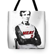 Abe Lincoln In A Dwyane Wade Jersey Tote Bag by Roly Orihuela