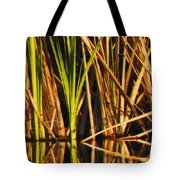 Abstract Reeds Triptych Top Tote Bag by Steven Sparks