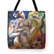 Adam And Eve Tote Bag by Guri Stark