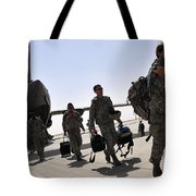 Airmen Arrive In Iraq In Support Tote Bag by Stocktrek Images