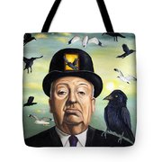Alfred Hitchcock Tote Bag by Leah Saulnier The Painting Maniac