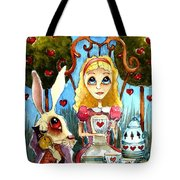 Alice And The Rabbit Having Tea... Tote Bag by Lucia Stewart