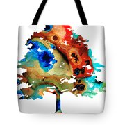 All Seasons Tree 3 - Colorful Landscape Print Tote Bag by Sharon Cummings