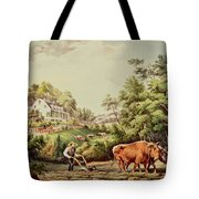 American Farm Scenes Tote Bag by Currier and Ives