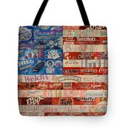 American Flag - Made From Vintage Recycled Pop Culture USA Paper Product Wrappers Tote Bag by Design Turnpike