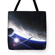 An Alien Patrol Zooms Tote Bag by Kevin Lafin