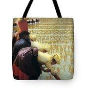 An Italian Rice Field Tote Bag by Angelo Morbelli