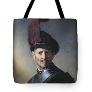 An Old Man in Military Costume Tote Bag by Rembrandt
