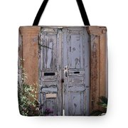 Ancient Garden Doors In Greece Tote Bag by Sabrina L Ryan