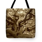 Angel Oak In Sepia Tote Bag by Suzanne Gaff