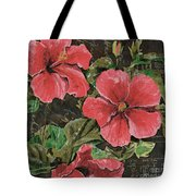 Antique Hibiscus Black 2 Tote Bag by Debbie DeWitt