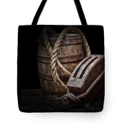Antique Pulley And Barrel Tote Bag by Tom Mc Nemar