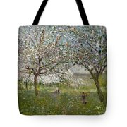 Apple Trees In Flower Tote Bag by Ernest Quost