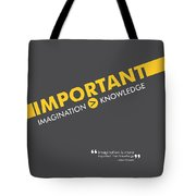 Albert Einstein White Typography Print Art Poster Tote Bag by Lab No 4 - The Quotography Department