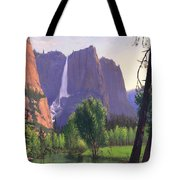 Mountains Waterfall Stream Western Mountain Landscape Oil Painting Tote Bag by Walt Curlee