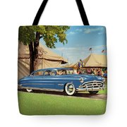 1951 Hudson Hornet fair americana antique car auto nostalgic rural country scene landscape painting Tote Bag by Walt Curlee