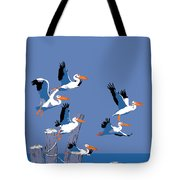 abstract Pelicans seascape tropical pop art nouveau 1980s florida birds large retro painting  Tote Bag by Walt Curlee