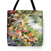 Path Monets Garden Watercolor Paintings Of France Tote Bag by Beverly Brown Prints