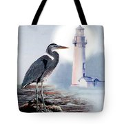 Blue Heron In The Circle Of Light Tote Bag by Gina Femrite