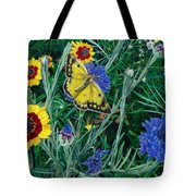 Butterfly Wildflowers Spring Time Garden Floral Oil Painting Green Yellow Tote Bag by Walt Curlee