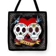 Love Skulls II Tote Bag by Tammy Wetzel