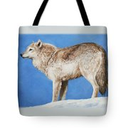 Snowy Wolf Tote Bag by Crista Forest