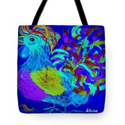 Rooster Blues Tote Bag by Eloise Schneider