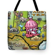 Austin Texas Cartoon Map Tote Bag by Kevin Middleton