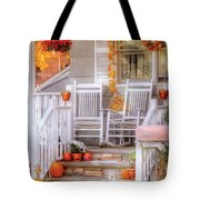 Autumn - House - My Aunts porch Tote Bag by Mike Savad