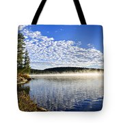 Autumn lake shore with fog Tote Bag by Elena Elisseeva