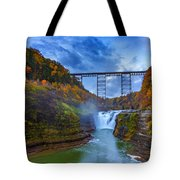 Autumn Morning At Upper Falls Tote Bag by Rick Berk