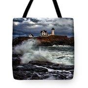 Autumn Storm At Cape Neddick Tote Bag by Rick Berk