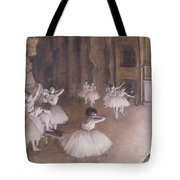 Ballet Rehearsal On The Stage Tote Bag by Edgar Degas
