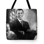 Barack Obama Martin Luther King Jr And Malcolm X Tote Bag by Ylli Haruni