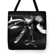 Barber - Things in a barber shop - black and white Tote Bag by Paul Ward