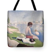 Bathers At Asnieres Tote Bag by Georges Pierre Seurat
