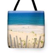 beach fence and ocean Cape Cod Tote Bag by Matt Suess