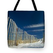 Beach Fence And Snow Tote Bag by Matt Suess