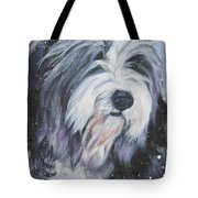 Bearded Collie In Snow Tote Bag by Lee Ann Shepard