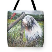 Bearded Collie With Cardinal Tote Bag by Lee Ann Shepard