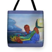 Ben And The Dolphin Fish Tote Bag by Kathy Braud