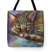 Bengal Cat Watercolor Art Painting Tote Bag by Svetlana Novikova